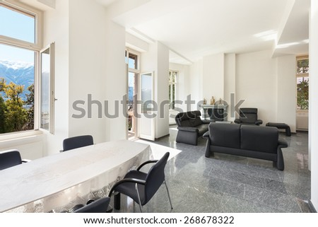 Architecture, classic apartment furnished, comfortable living room - stock photo