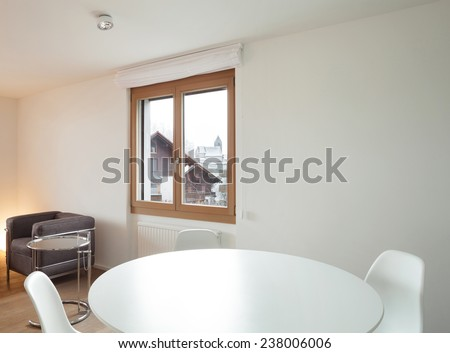 Architecture, comfortable apartment, white dining table - stock photo