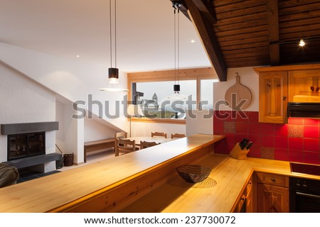 Architecture, comfortable chalet, domestic kitchen view - stock photo