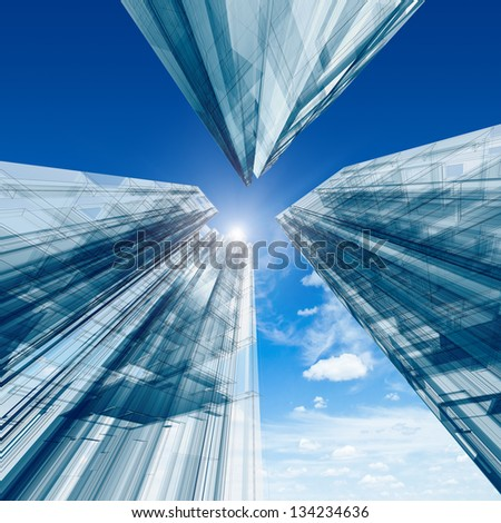 Architecture construction. Design and 3d model my own - stock photo