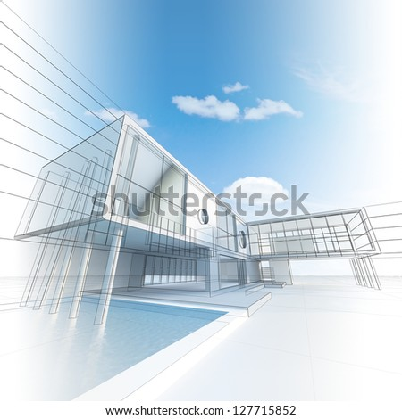 Architecture construction. My design, model and textures - stock photo