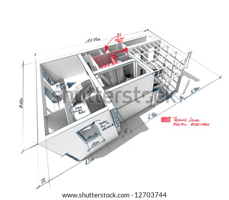 Architecture 3D rendering of a house with scribbled notes and indications - stock photo