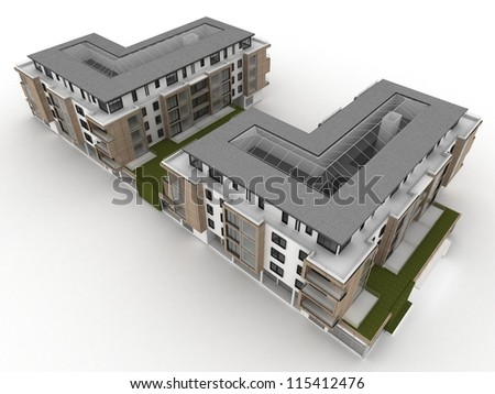 architecture design and visualization of apartment building