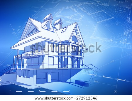 Ecology Architecture Design House Plans Green Stock Vector