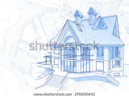 Architecture design: blueprint - house  & plans illustration - stock photo
