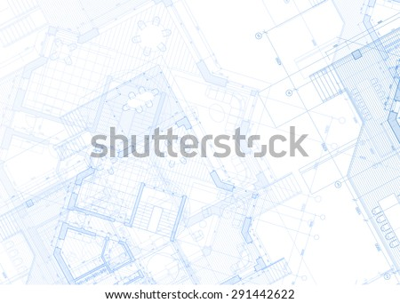 Architecture design: blueprint - house plans illustration  - stock photo