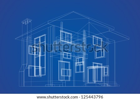 Architecture design. High quality 3d render - stock photo