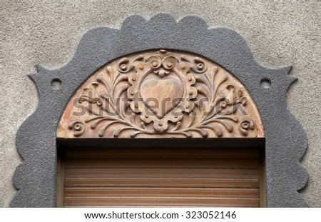 Architecture detail in art nouveau style, Subotica, Serbia - stock photo