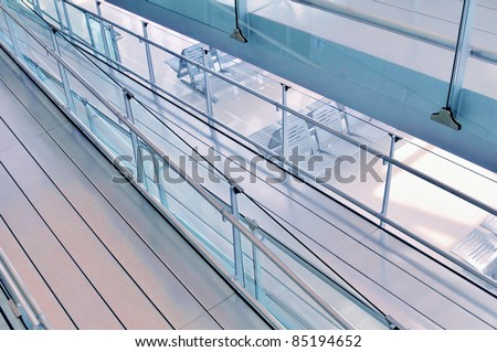 Architecture detail of a ramp inside departure terminal of Bangkok Airport in Thailand - stock photo