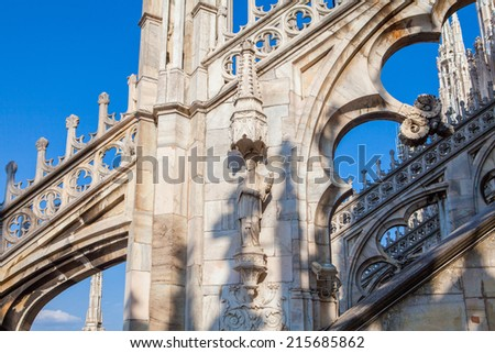Architecture detail of Milan dome cathedral, Italy - stock photo