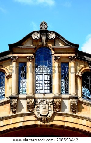 Architecture detail of the Bridge of Sighs along New College Lane which links two parts of Hertford College, Oxford, Oxfordshire, England, UK, Western Europe. - stock photo