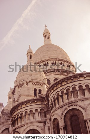 Architecture detail - Sacre Coeur, Paris. Photo in pink tinting