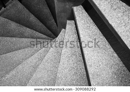 Architecture detail Spiral staircase Black and White  - stock photo