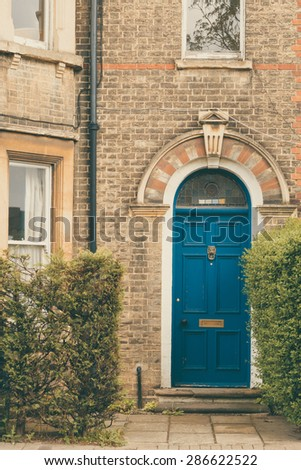 Architecture details of an English house in Cambridge closeup - stock photo