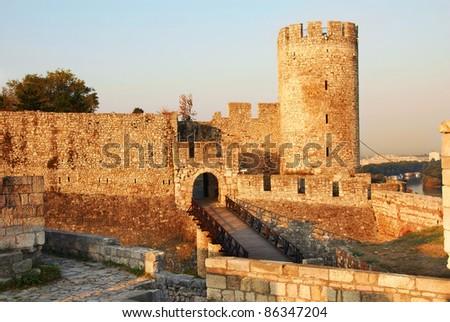 architecture details of Kalemegdan fortress in Belgrade, Despot's Gate - stock photo