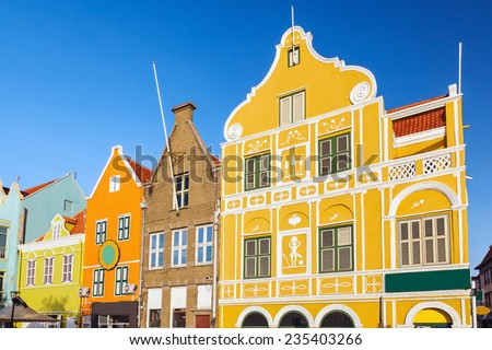 Architecture details of the colonial houses in Willemstad. Curacao, Netherlands Antilles - stock photo