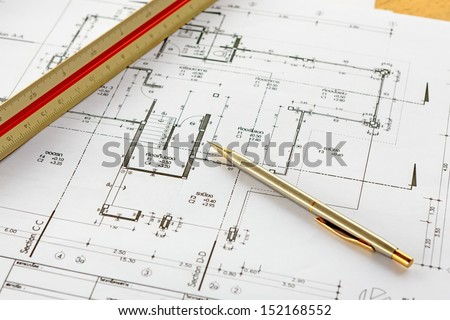 architecture drawings with pencil and ruler - stock photo