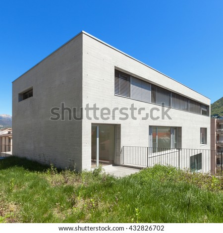 Architecture, exterior of a modern building in cement
