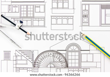 Architecture Home Draw Drawing Instruments Stock Photo