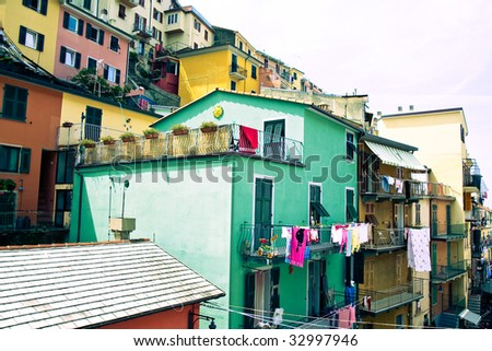 architecture in Cinque Terre, Italy - stock photo