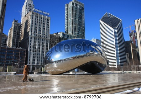 Architecture in Downtown Chicago in Millennium Park - stock photo