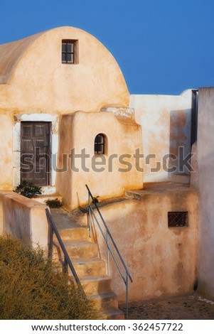 Architecture in Pyrgos village, Santorini, Greece - stock photo
