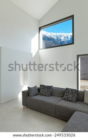 Architecture, interior of a modern house, living room - stock photo