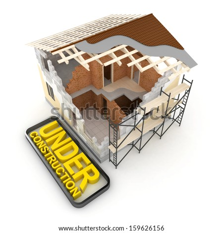 Architecture model house showing building structure - stock photo