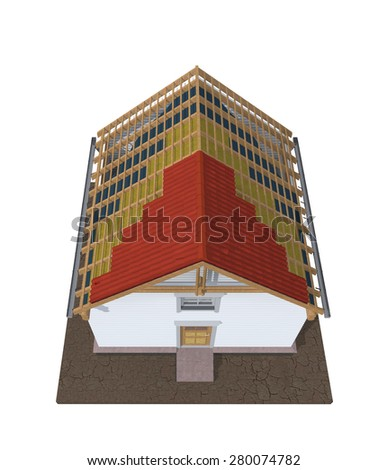 Architecture model house showing building structure isolated on white - stock photo