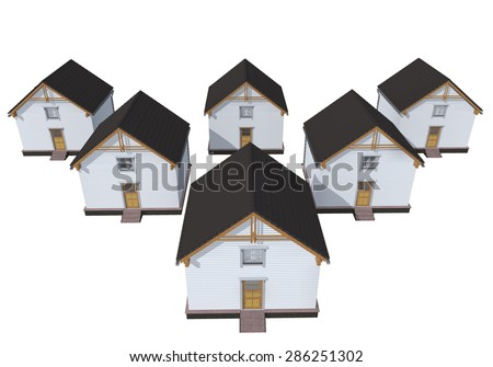Architecture model red houses isolated on white - stock photo