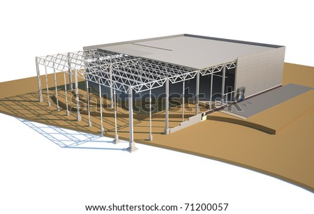 Architecture model warehouse showing building structure - stock photo