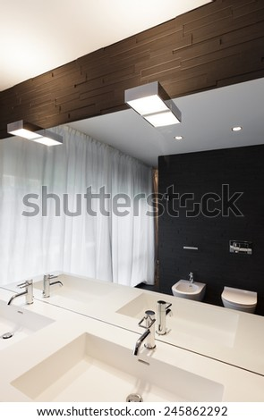 Architecture, modern apartment, comfortable bathroom