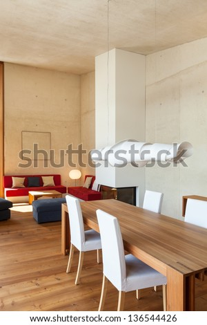 architecture modern design, mountain home, dining table