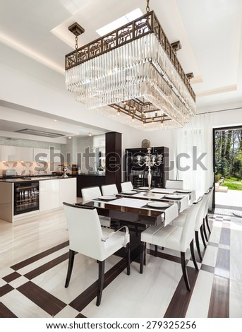 architecture, modern house, beautiful interiors, dining room - stock photo