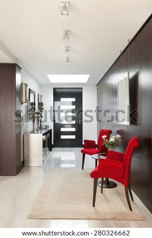 architecture, modern house, beautiful interiors, hall - stock photo