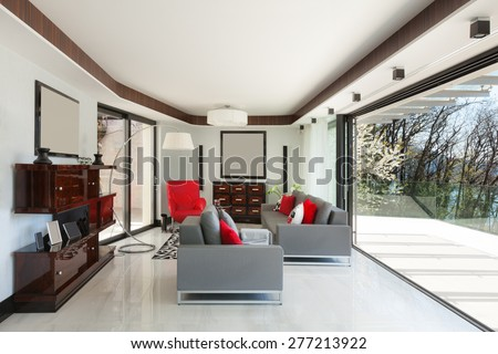 architecture, modern house, beautiful living room, design furniture - stock photo