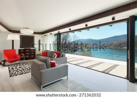 architecture, modern house, beautiful veranda overlooking the lake, interior - stock photo