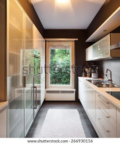 Architecture, modern house, domestic kitchen view - stock photo