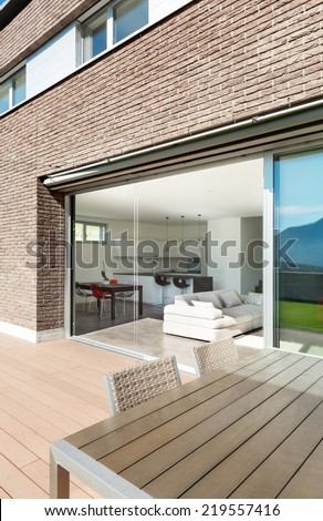 Architecture, modern house, outdoor, view from veranda - stock photo