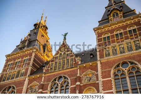 Architecture of Amsterdam, the capital of Netherlands - stock photo