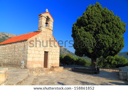 Architecture of an old orthodox monastery near the Adriatic sea - stock photo
