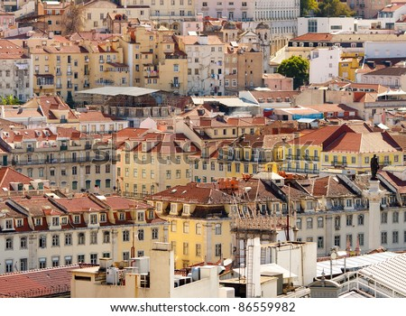 Architecture of Baixa district in Lisbon,Portugal - stock photo