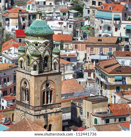 architecture of beautiful  Amalfi, view with church - stock photo