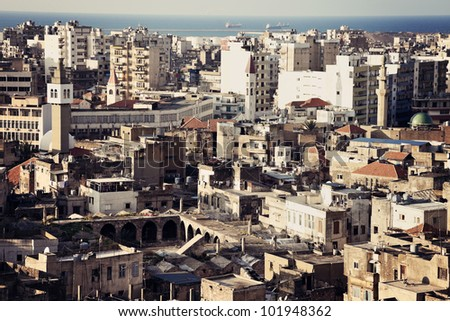Architecture of downtown Tripoli, Lebanon - stock photo