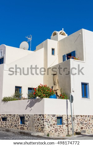 Architecture of greek house on Santorini island, Greece