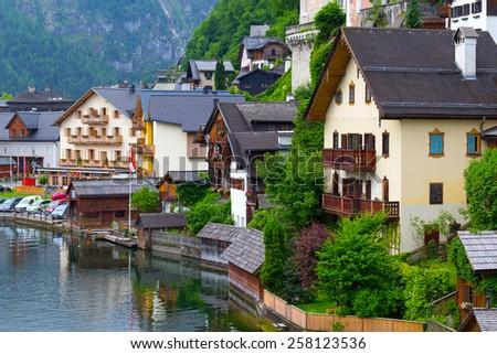 Architecture of Hallstatt village in Alps, Austria - stock photo