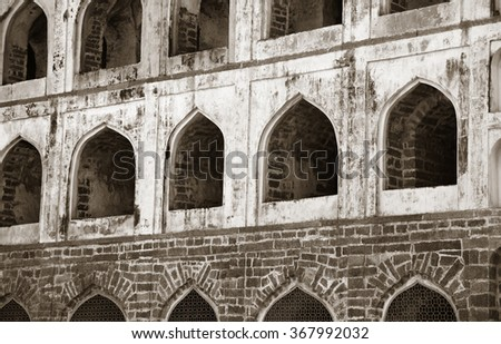 Architecture of historic Golconda fort in Hyderabad ,India - stock photo