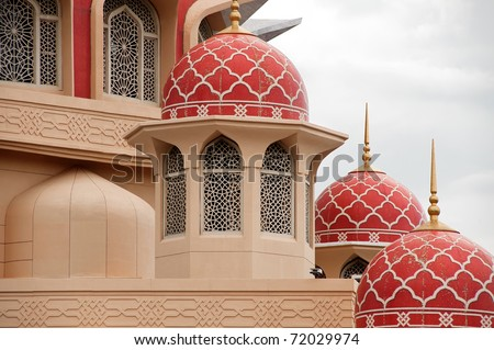 Architecture of mosque with red doom of roof. - stock photo
