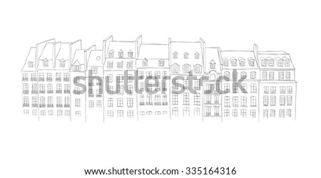 Architecture of Paris - urban sketch - stock photo