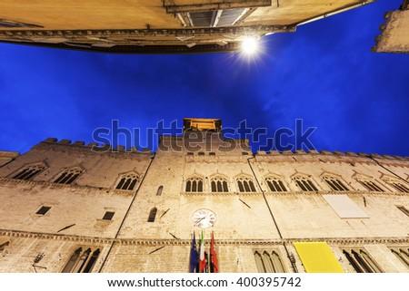 Architecture of Perugia at night. Perugia, Umbria, Italy. - stock photo